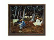 """Art Reproduction Oil Painting - Claude Monet Painting by the Edge of a Wood with Cottage Oak Frame - Diamond Patterned with Bronze and Dark Stain Finish - 24"""" X 28"""" - Hand Painted Framed Canvas Art"""