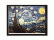 """Art Reproduction Oil Painting - Van Gogh Paintings: Starry Night with La Scala Frame - Black and Gold Finish - 39"""" X 51"""" - Hand Painted Framed Canvas Art"""
