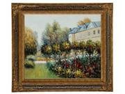 "Art Reproduction Oil Painting - Renoir Paintings: The Garden at Fontenay, 1874 with Black Crackle King Frame - 28"" X 32"" - Hand Painted Framed Canvas Art"