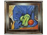 "Art Reproduction Oil Painting - Still Life with Pomegranate and Bananas with Natural Creed Frame - Deep Natural Stained Wood - 29"" X 33"" - Hand Painted Framed Canvas Art"