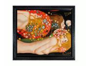 """Art Reproduction Oil Painting - Klimt Paintings: Water Serpents II (detail) with Spaniard Black Wood Frame - 26"""" X 30"""" - Hand Painted Framed Canvas Art"""