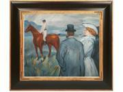 """Art Reproduction Oil Painting - At the Races with Opulent Frame - Dark Stained Wood with Gold Trim - 29"""" X 33"""" - Hand Painted Framed Canvas Art"""
