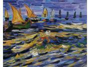 Van Gogh Paintings: Seascape at Saintes Maries de la Mer - Hand Painted Canvas Art