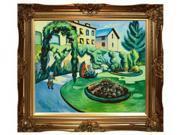 "Art Reproduction Oil Painting - The Macke Garden at Bonn (Gartenbild) with Victorian Gold Frame - Gold Finish - 28"" X 32"" - Hand Painted Framed Canvas Art"