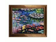 "Art Reproduction Oil Painting - Monet Paintings: Water Lilies (pink) with El Dorado Gold Frame - Patterned Dark Gold Finish - 24"" X 28"" - Hand Painted Framed Canvas Art"