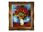 """Art Reproduction Oil Painting - Van Gogh Paintings: Vase with Red Poppies, 1886 with Victorian Gold Frame - Gold Finish - 28"""" X 32"""" - Hand Painted Framed Canvas Art"""