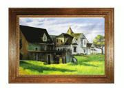 """Art Reproduction Oil Painting - Cape Cod Afternoon with Vienna Wood Frame - Broken Gold Leaf Finish - 31"""" X 43"""" - Hand Painted Framed Canvas Art"""