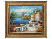 """Art Reproduction Oil Painting - Mediterranean View with Regal Champagne Frame - Dark Champagne Finish - 28.5"""" X 32.5"""" - Hand Painted Framed Canvas Art"""