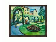 """Art Reproduction Oil Painting - The Macke Garden at Bonn (Gartenbild) with Copper Sweep - Dark wood frame with a distressed bronze finish. - 23.125"""" X 27.125"""" - Hand Painted Framed Canvas Art"""