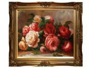 "Art Reproduction Oil Painting - Renoir Paintings: Discarded Roses with Victorian Gold Frame - Gold Finish - 28"" X 32"" - Hand Painted Framed Canvas Art"