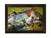 """Art Reproduction Oil Painting - Dolce Far Niente with Veine D' Or Bronze Scoop - Bronze and Dark Brown Finish - 30.5"""" X 42.5"""" - Hand Painted Framed Canvas Art"""