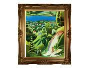 """Art Reproduction Oil Painting - Landscape on the Teggernsee with a Reading man with Victorian Gold Frame - Gold Finish - 28"""" X 32"""" - Hand Painted Framed Canvas Art"""
