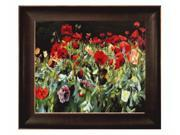 """Art Reproduction Oil Painting - Poppies with Veine D' Or Bronze Scoop - Bronze and Rich Brown Finish - 26.5"""" X 30.5"""" - Hand Painted Framed Canvas Art"""