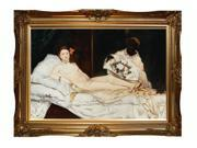 "Art Reproduction Oil Painting - Olympia with Victorian Gold Frame - Gold Finish - 32"" X 44"" - Hand Painted Framed Canvas Art"