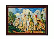 """Art Reproduction Oil Painting - Cezanne Paintings: Bathers with Oxblood Scoop - Deep Red Finish with Concave Detail - 31"""" X 43"""" - Hand Painted Framed Canvas Art"""