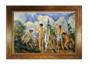 """Art Reproduction Oil Painting - Closeout Deals: Bathers (affordable line) with Vienna Wood Frame - Broken Gold Leaf Finish - 31"""" X 43"""" - Hand Painted Framed Canvas Art"""
