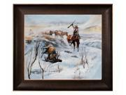 """Art Reproduction Oil Painting - Christmas Dinner for the Men on the Trail with Veine D' Or Bronze Scoop - Bronze and Rich Brown Finish - 26.5"""" X 30.5"""" - Hand Painted Framed Canvas Art"""