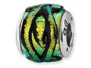925 Sterling Silver Yellow Dichroic Glass Charm Bead