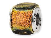 925 Sterling Silver Square Orange Dichroic Glass Bead
