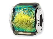 925 Sterling Silver Square Yellow Dichroic Glass Bead
