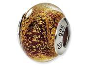925 Silver Red Gold Speckled Italian Murano Glass Bead 9SIA06J02G9139