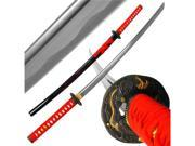 Katana w/ Red Dragon Tsuba and Scabbard - 40 inch