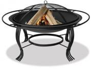 "34"" Diameter Black Firepit with Outer Ring - by Blue Rhino"