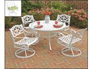 """Biscayne 5PC Dining Set 48"""" Table / Cushioned Swivel Chairs - by Home Styles"""