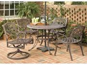 """5-Pc Rust Brown Dining Set - 42"""" Table and 4 Arm Chairs - by Home Styles"""