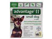 Advantage II For Small Dogs 1-10 lbs, Green 4 Pack