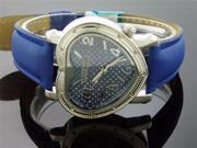 Swiss Master By KM Large Heart 12 Diamonds Watch Blue