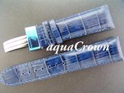 New Aqua Master double pin leather Blue band 24mm