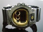 Casio G Shock 3.50CT Full Case White diamonds Gold Face & Case Watch