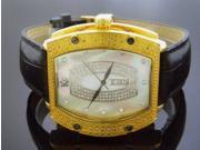 Techno Com By Kc 0.25ct Diamond 46mm White M-o-p Face Yellow Gold Case