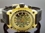 Men's new techno com kc watch round cut black diamonds 52mm Weg genuine 4.00CT