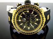 New Men Techno com kc watch 48mm genuine 4.50CT black large diamonds rubber band