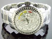 Men Techno com kc 48mm Wee genuine 4.50CT black large diamonds silver face watch