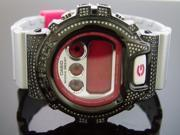 Casio G Shock 2.50 Ct Full Case white diamonds pink silver face black tone case