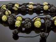 "Unisex Black & Yellow Gold Color Big Bead CZ Shamballa Necklace 12MM 34"" Long"