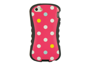 Apple iPhone 5 Hybrid Silicone and Plastic Fancy Style Case (Rainbow Dots) (Pink)