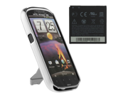 HTC Amaze 4G OEM Battery and Body Glove Kickstand Shell Case (Stripes Design) (Silver)