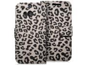 Fosmon CADDY-LEOPARD Leather Wallet Flip Cover Case for HTC One (M8) 2014
