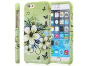 "Fosmon MATT-DESIGN Rubberized Polycarbonate (PC) Snap-On Case for Apple iPhone 6 (4.7"") - Green Flower"