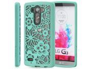 GreatShield TACT ARMOR Flora Design PC+TPU Case Cover for LG G3 - Teal
