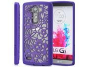 GreatShield TACT ARMOR Flora Design PC+TPU Case Cover for LG G3 - Radiant Orchid