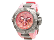 Invicta 1391 Stainless Steel Subaqua Noma IV Diver Pink Dial Chronograph Rubber Strap