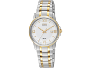 Citizen EW1914-56A Eco-Drive Two Tone Stainless Steel Case and Bracelet White Dial Date Display