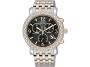Citizen FB1296-51H Eco-Drive Chronograph Two Tone Stainless Steel Case and Bracelet Black Dial Date