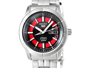 Seiko 5 Black And Red Dial Stainless Steel Mens Watch SRP339