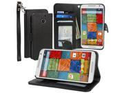 Evecase Moto X (2nd Gen.) Case, Leather Wallet Folio Case with Stand, Credit Card ID Slots, Currency Pocket, Hand Strap for Motorola Moto X (2nd Gen./ 2014 Edition) (AT&T) - Black